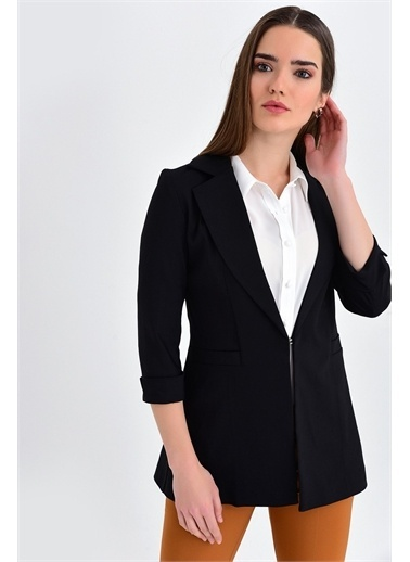 Jument Kapri Truvakar Kol Süs Cepli Kopçalı Ofis Blazer Kumaş Ceket-Fuşya Siyah